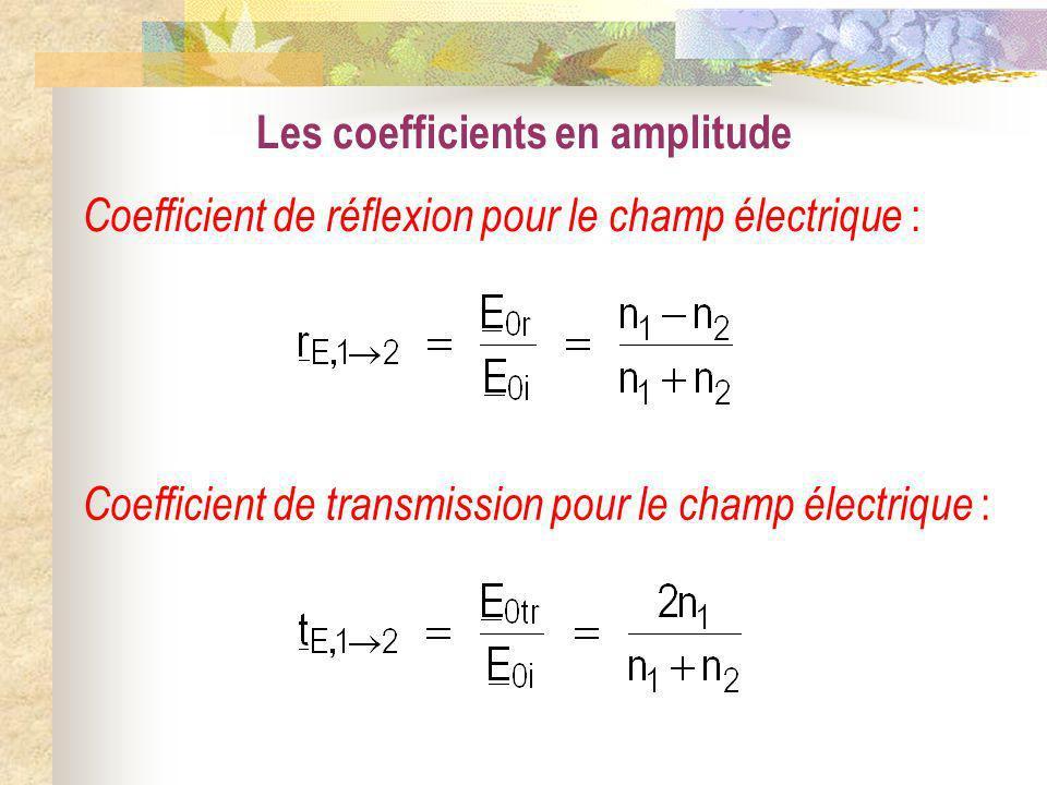 Les coefficients en amplitude