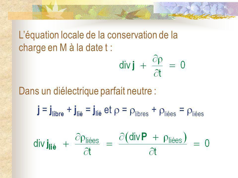 L'équation locale de la conservation de la charge en M à la date t :