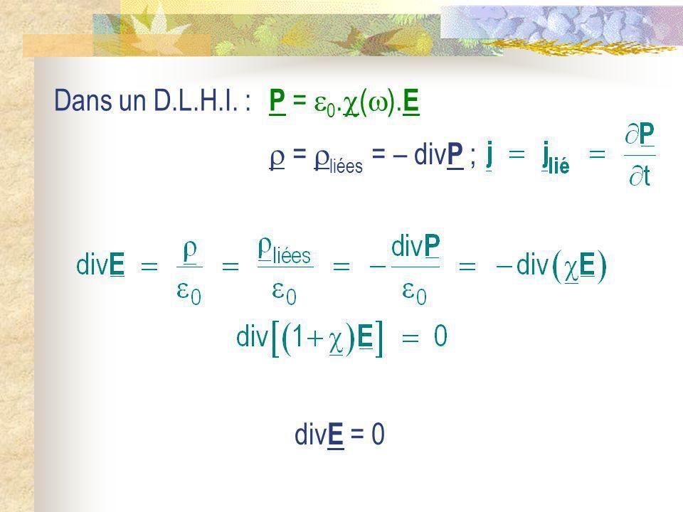 Dans un D.L.H.I. : P = 0.().E  = liées = – divP ; divE = 0