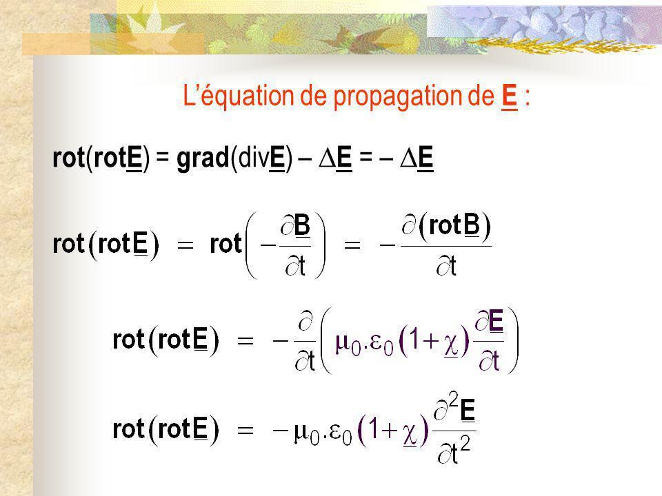 L'équation de propagation de E :