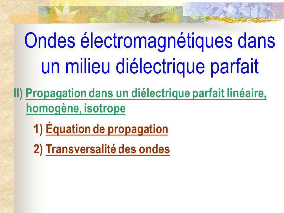 Ondes électromagnétiques dans un milieu diélectrique parfait