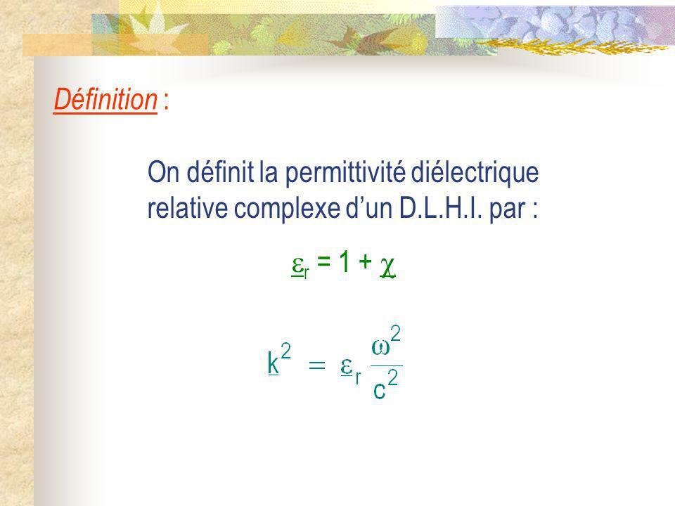 Définition : On définit la permittivité diélectrique relative complexe d'un D.L.H.I.