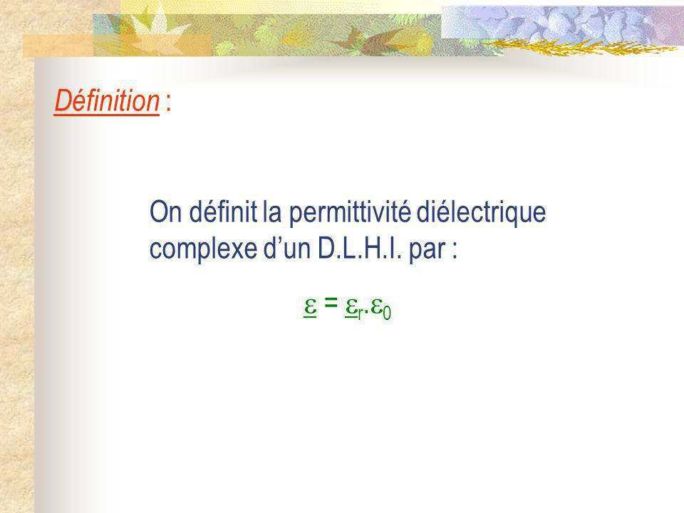 Définition : On définit la permittivité diélectrique complexe d'un D.L.H.I. par :  = r.0