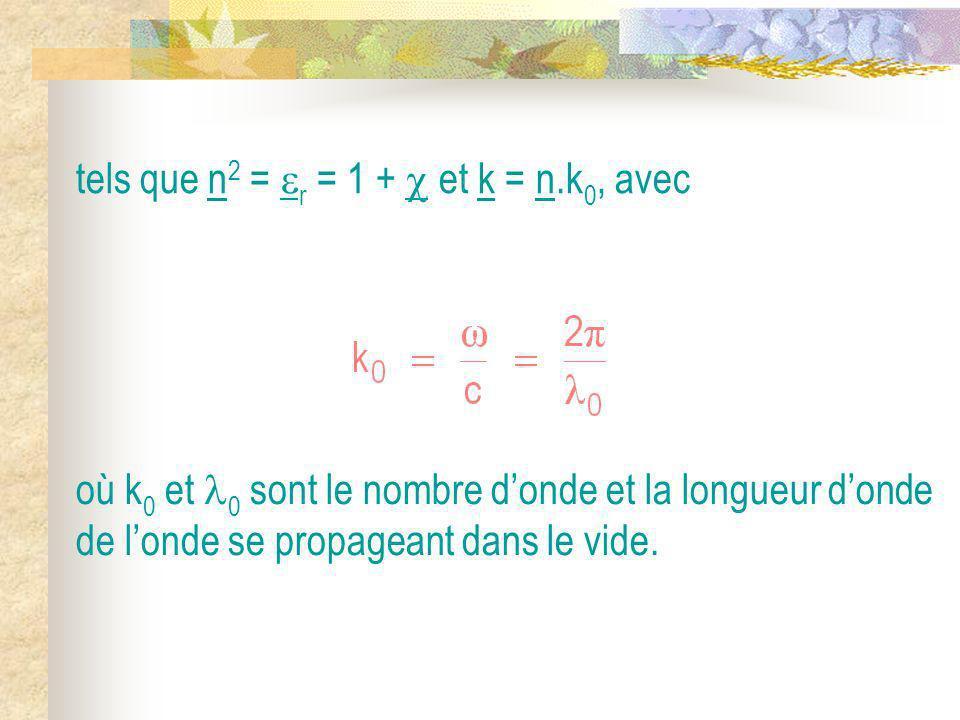 tels que n2 = r = 1 +  et k = n.k0, avec
