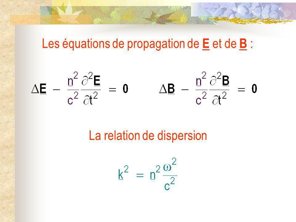 Les équations de propagation de E et de B :