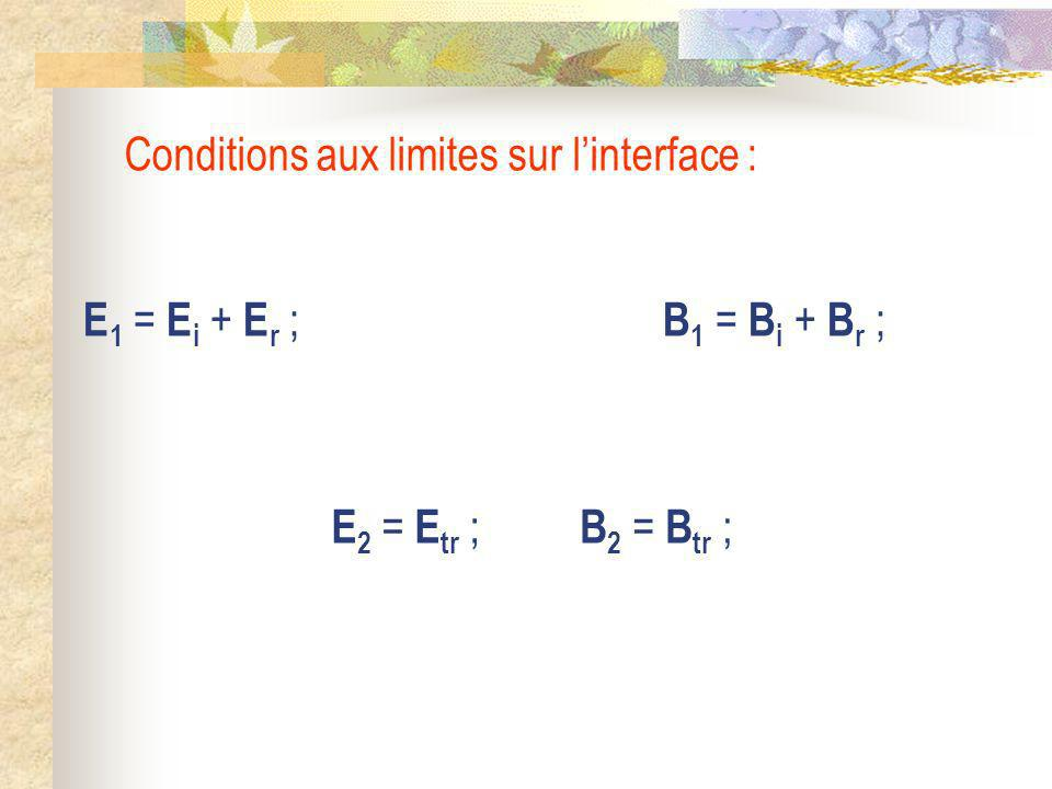 Conditions aux limites sur l'interface :