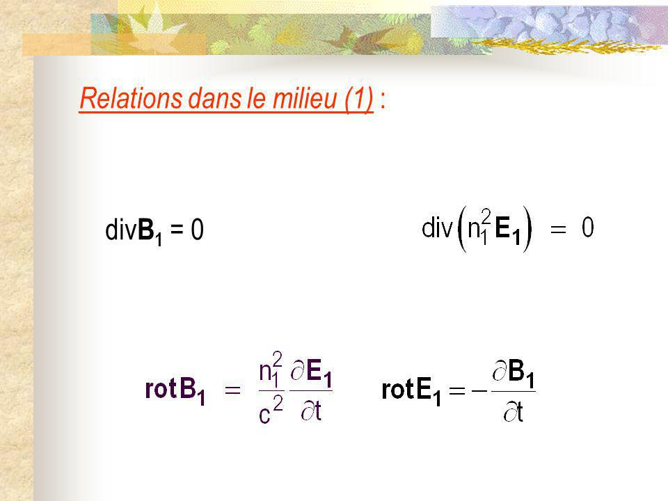 Relations dans le milieu (1) :