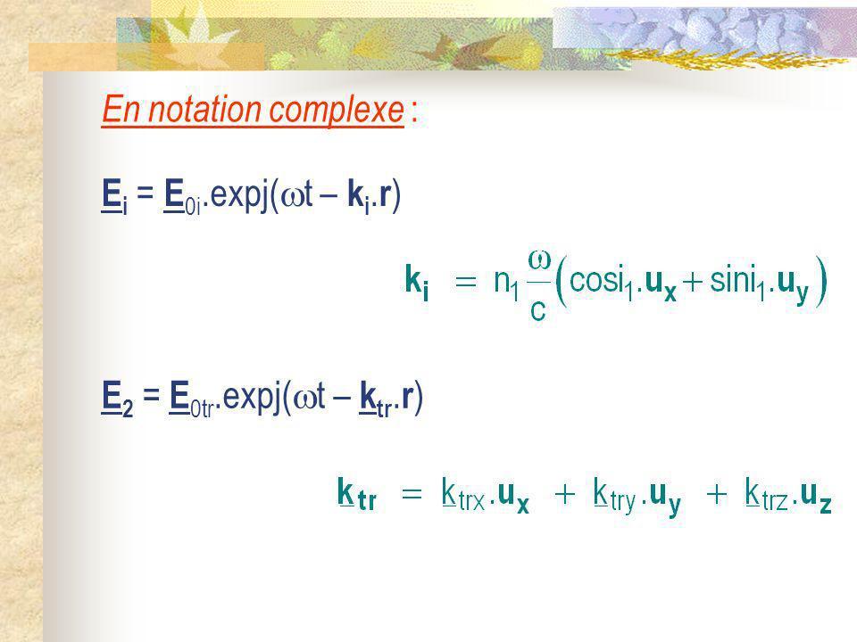 En notation complexe : Ei = E0i.expj(t – ki.r) E2 = E0tr.expj(t – ktr.r)