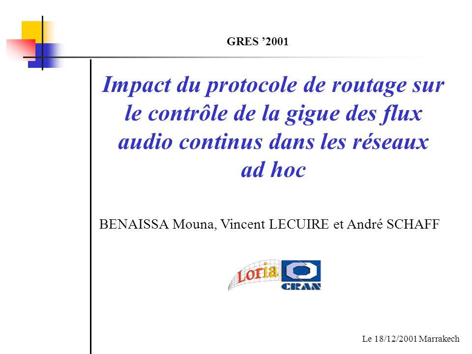 GRES '2001Impact du protocole de routage sur le contrôle de la gigue des flux audio continus dans les réseaux ad hoc.
