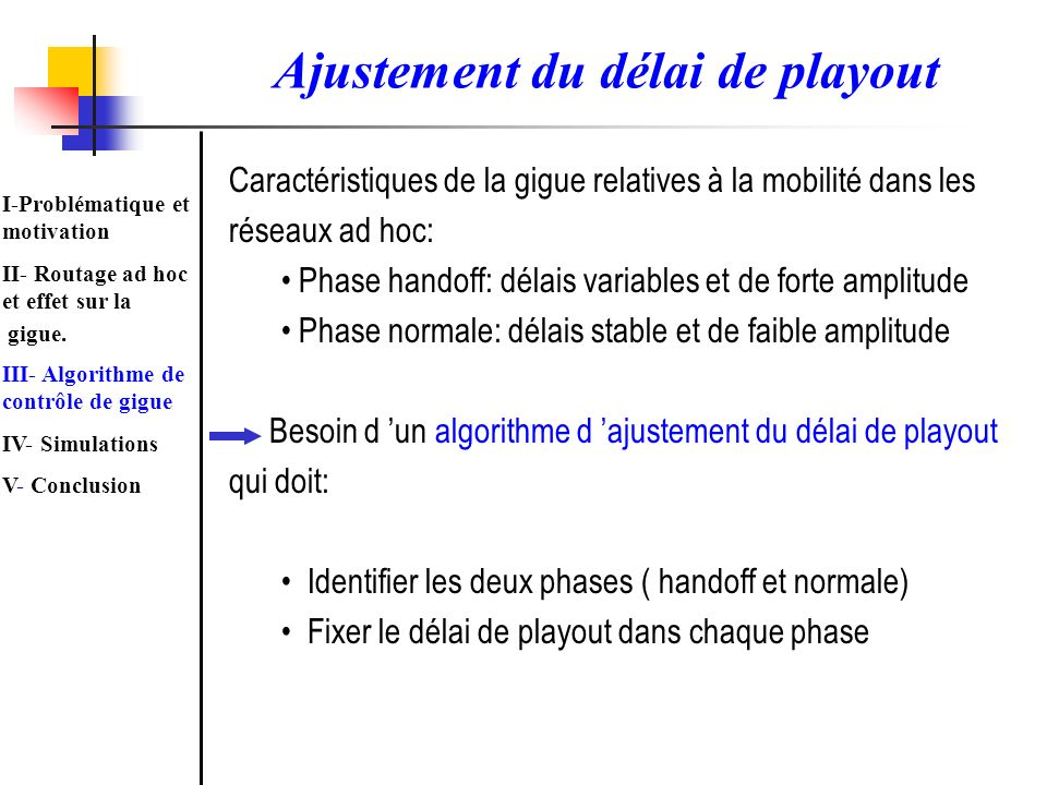 Ajustement du délai de playout
