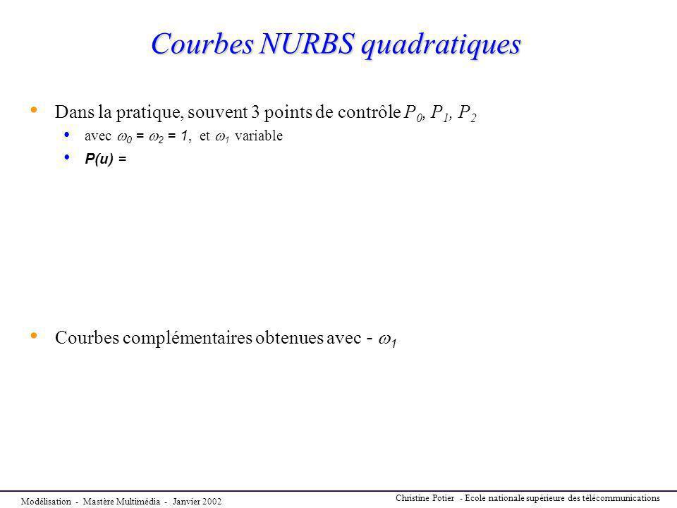 Courbes NURBS quadratiques