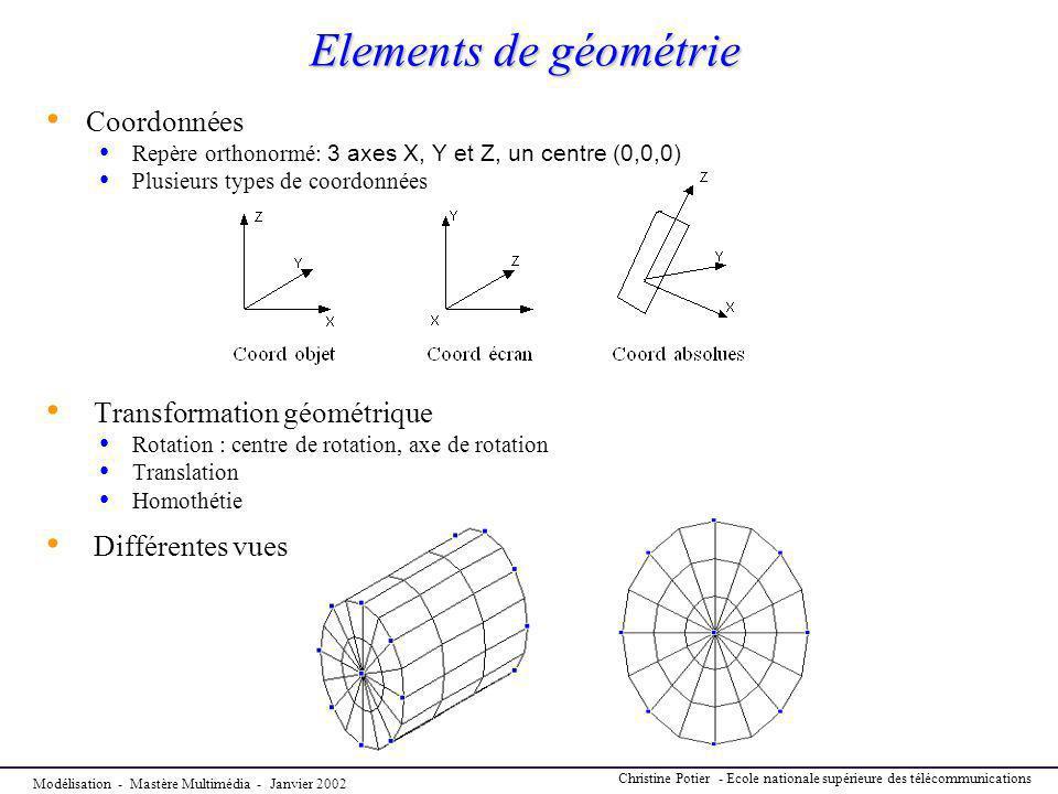 Elements de géométrie Coordonnées Transformation géométrique