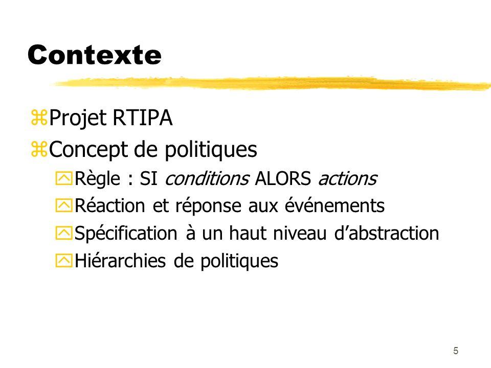 Contexte Projet RTIPA Concept de politiques