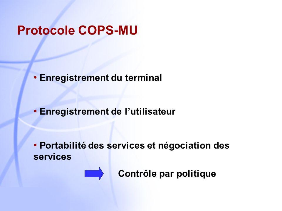 Protocole COPS-MU Enregistrement du terminal