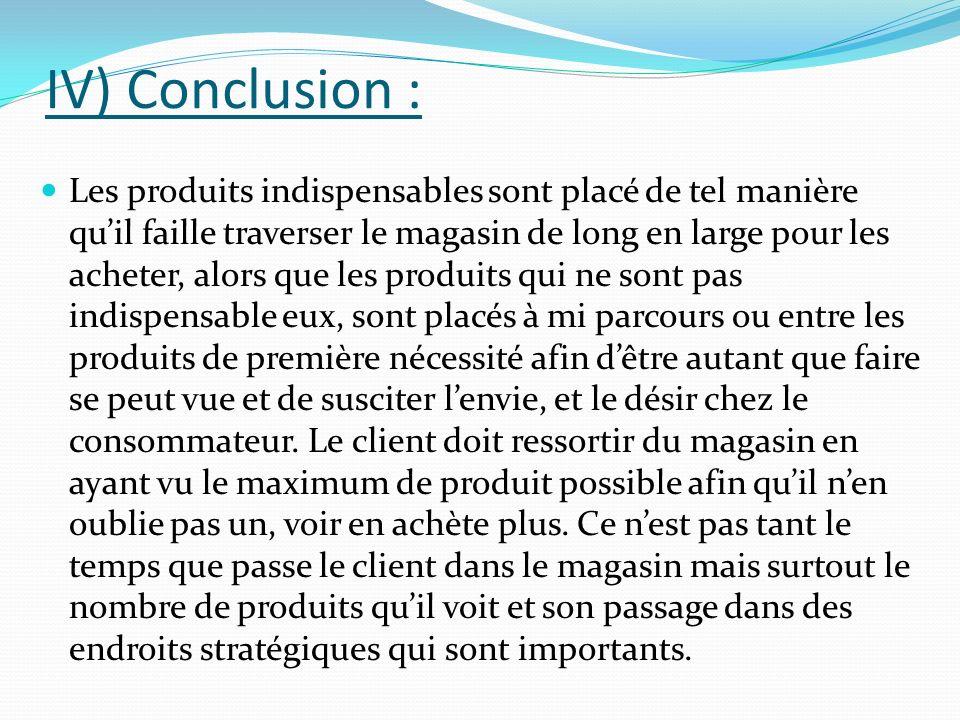 IV) Conclusion :
