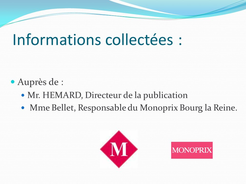 Informations collectées :