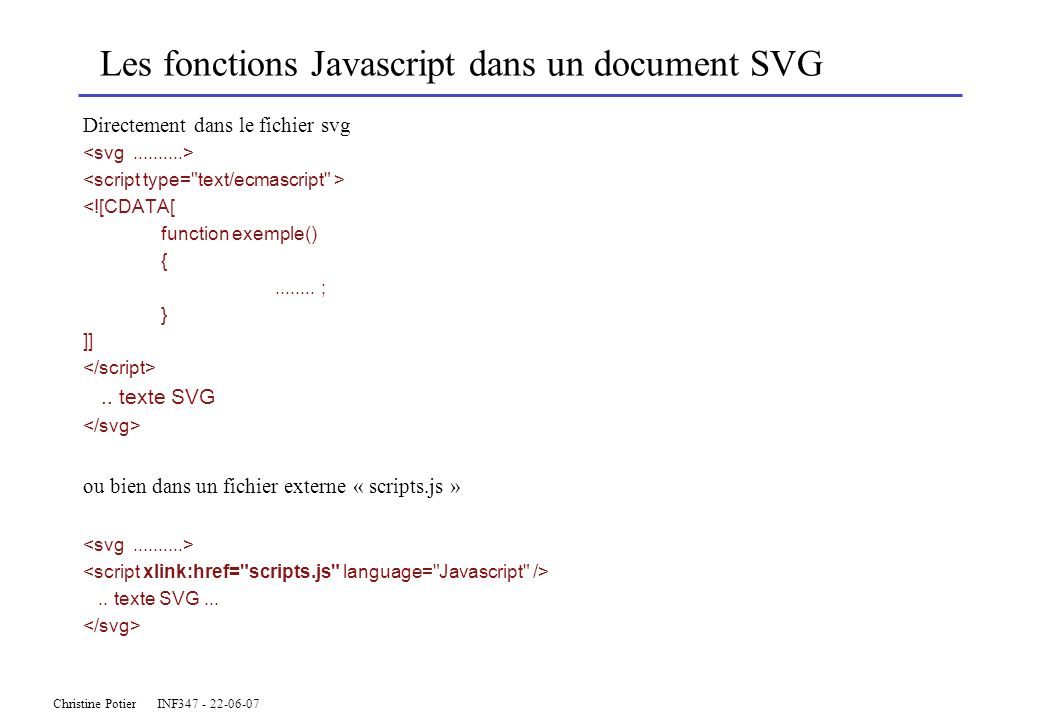 Les fonctions Javascript dans un document SVG