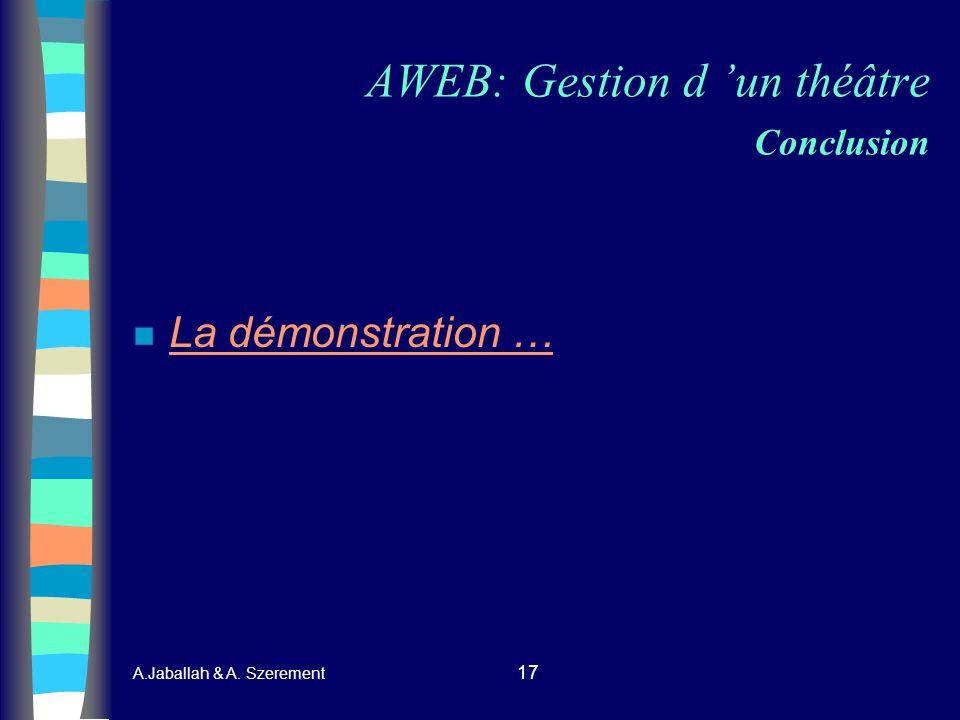AWEB: Gestion d 'un théâtre Conclusion