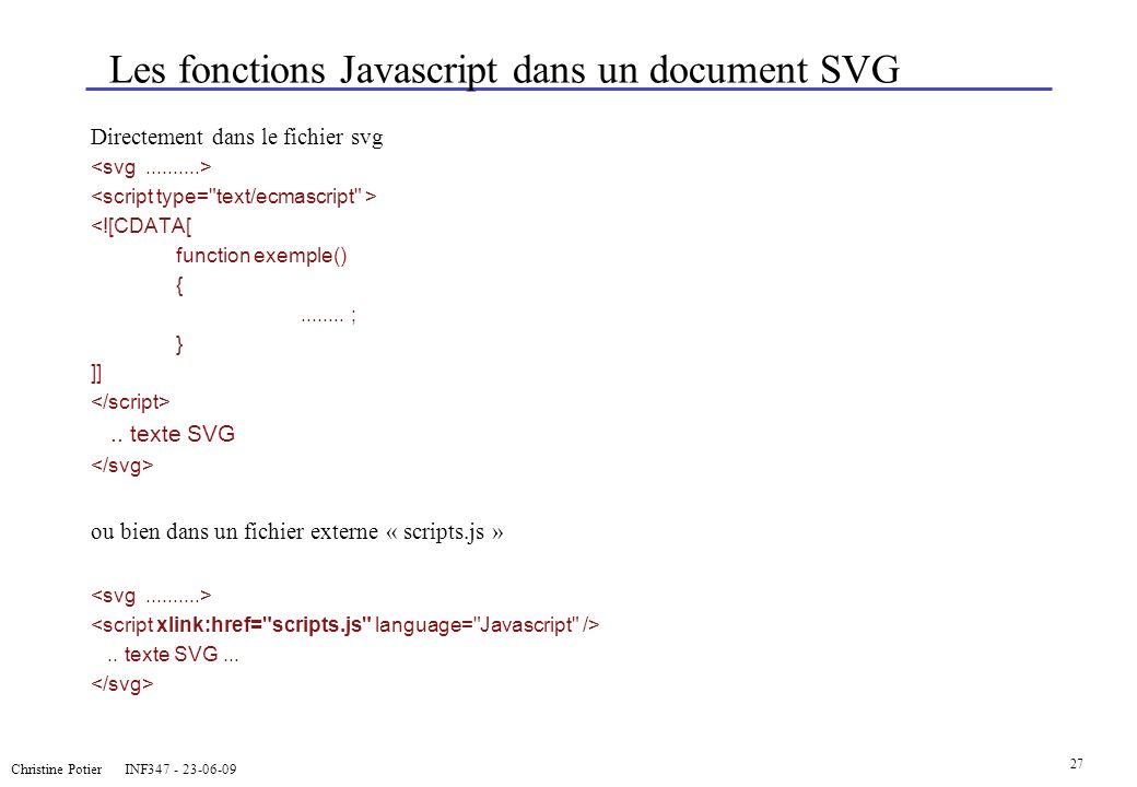 Les fonctions Javascript dans un document SVG