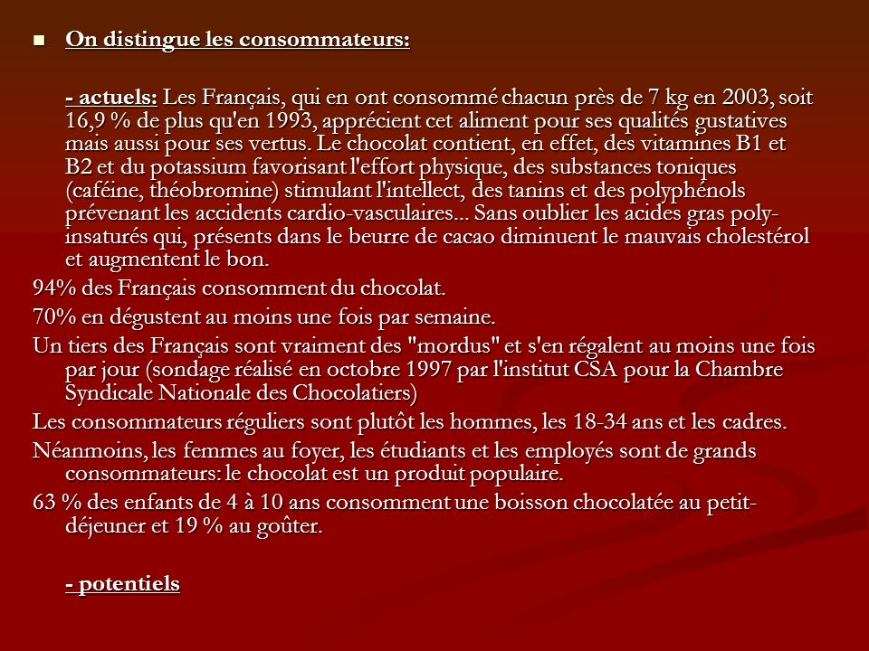 On distingue les consommateurs:
