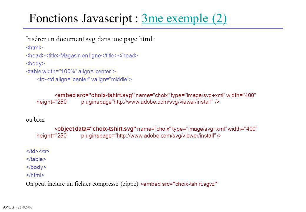 Fonctions Javascript : 3me exemple (2)
