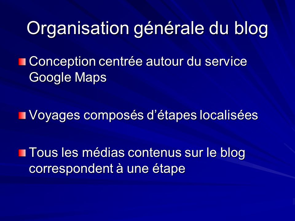 Organisation générale du blog