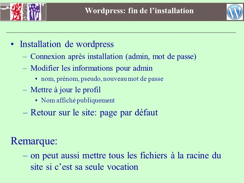 Wordpress: fin de l'installation