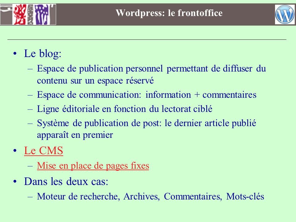 Wordpress: le frontoffice