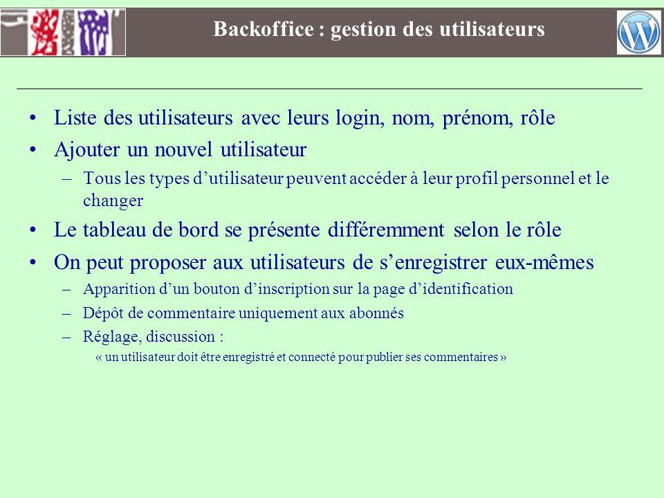 Backoffice : gestion des utilisateurs