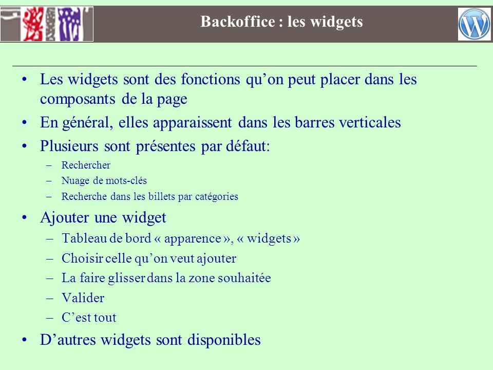 Backoffice : les widgets