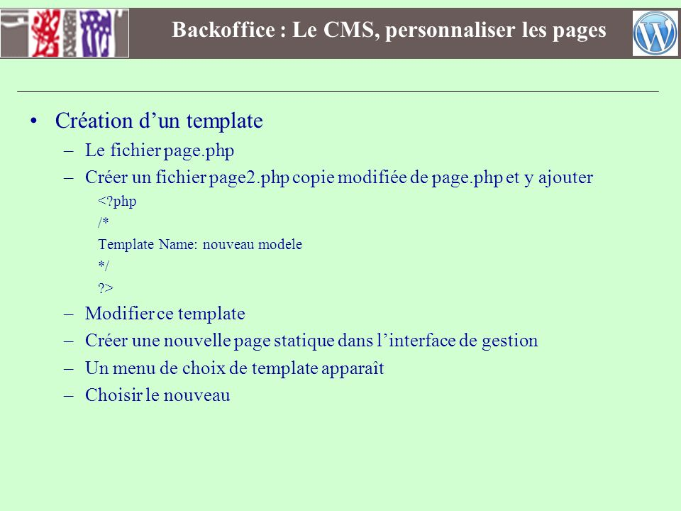 Backoffice : Le CMS, personnaliser les pages