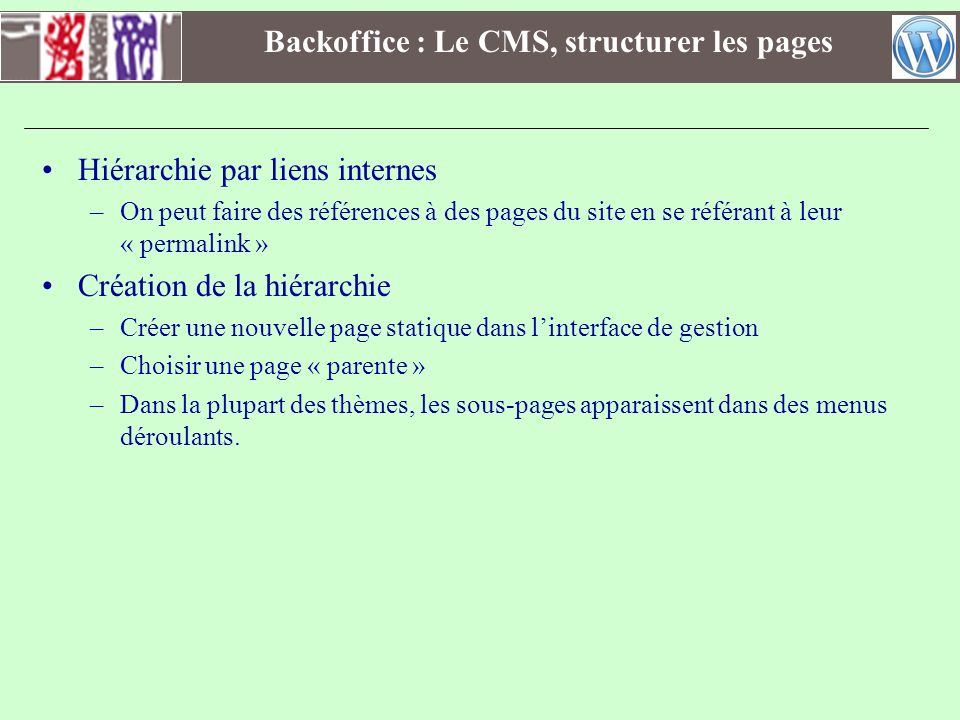 Backoffice : Le CMS, structurer les pages