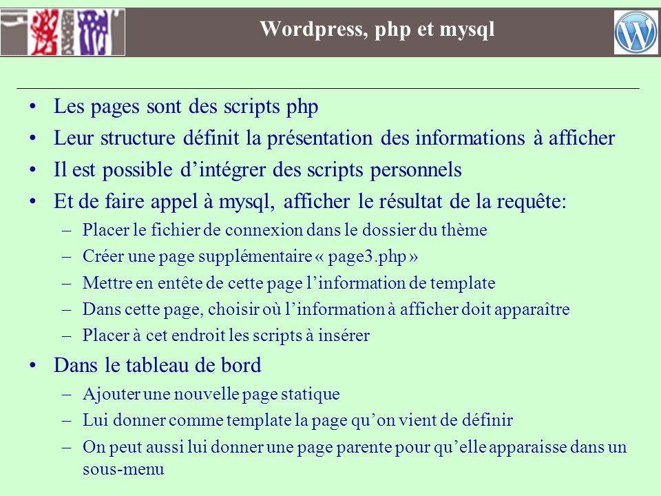 Les pages sont des scripts php