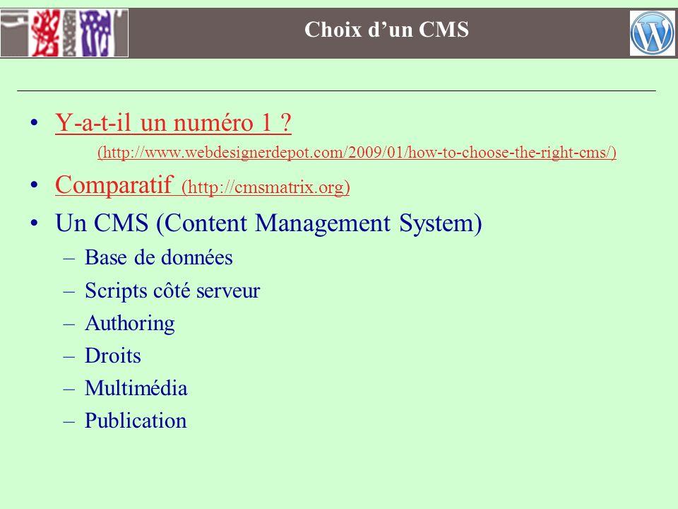Comparatif (http://cmsmatrix.org) Un CMS (Content Management System)