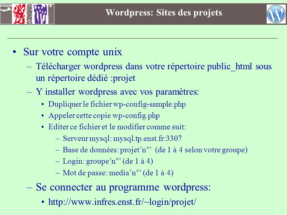 Wordpress: Sites des projets
