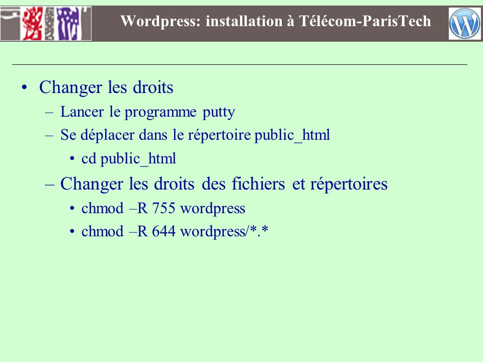 Wordpress: installation à Télécom-ParisTech