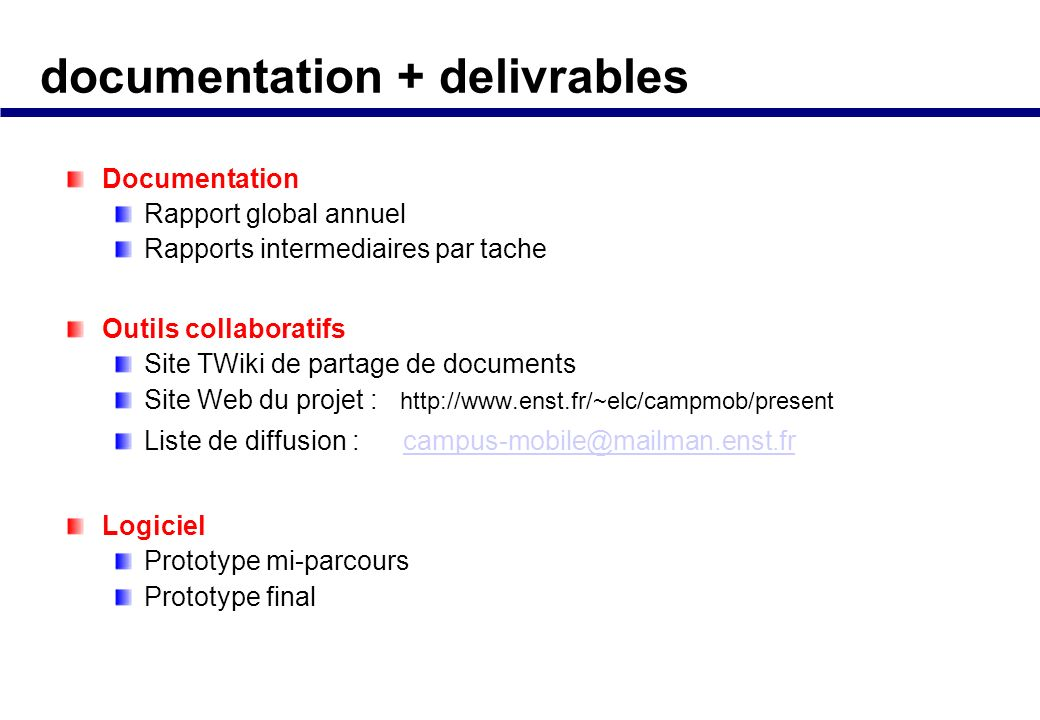 documentation + delivrables