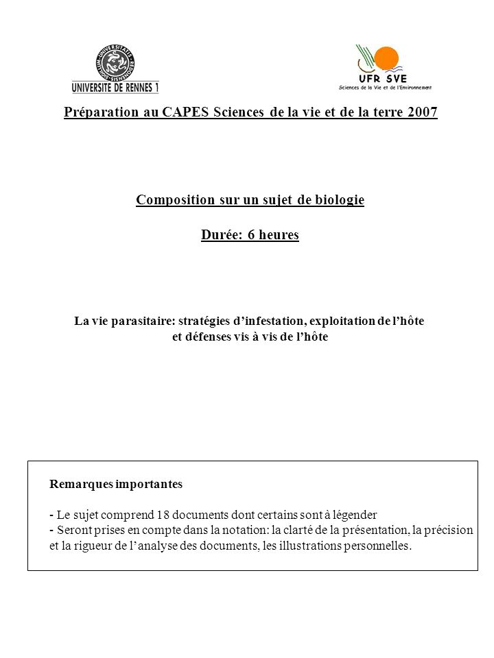Préparation au CAPES Sciences de la vie et de la terre 2007