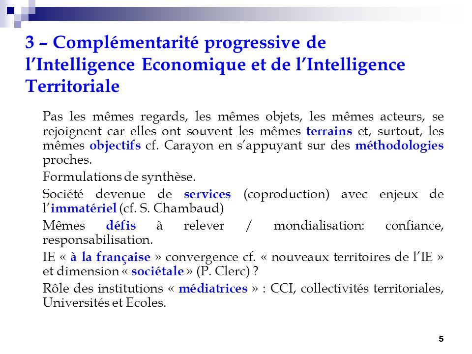 3 – Complémentarité progressive de l'Intelligence Economique et de l'Intelligence Territoriale