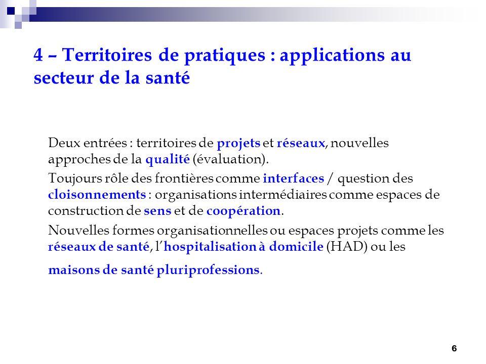4 – Territoires de pratiques : applications au secteur de la santé