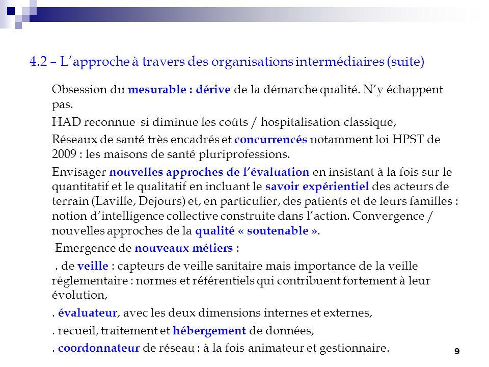 4.2 – L'approche à travers des organisations intermédiaires (suite)