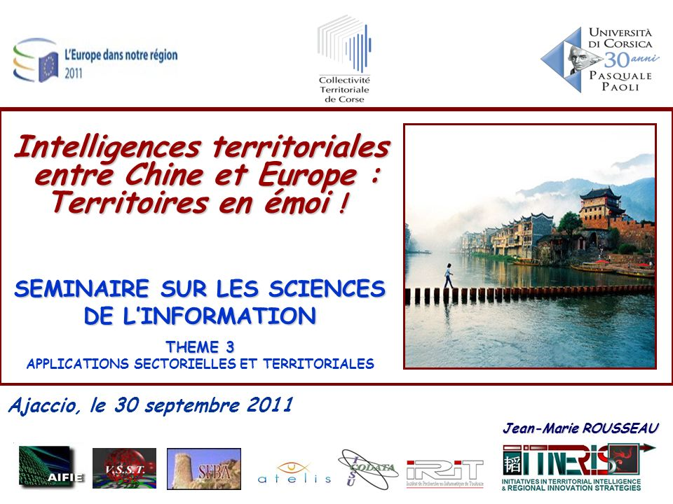 SEMINAIRE SUR LES SCIENCES APPLICATIONS SECTORIELLES ET TERRITORIALES
