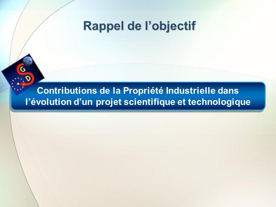 Rappel de l'objectifContributions de la Propriété Industrielle dans l'évolution d'un projet scientifique et technologique.