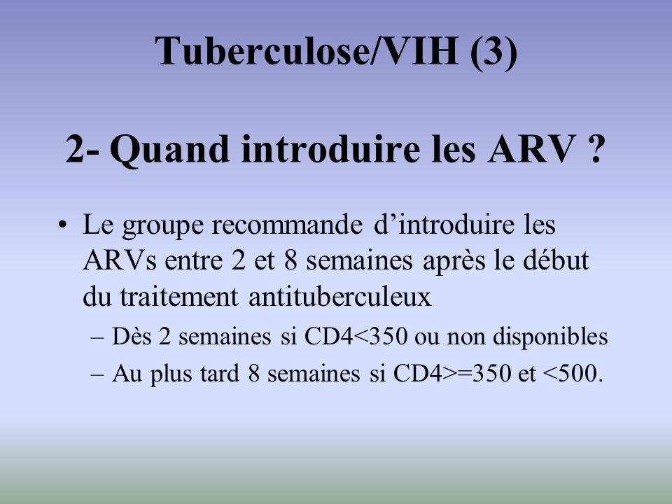 Tuberculose/VIH (3) 2- Quand introduire les ARV