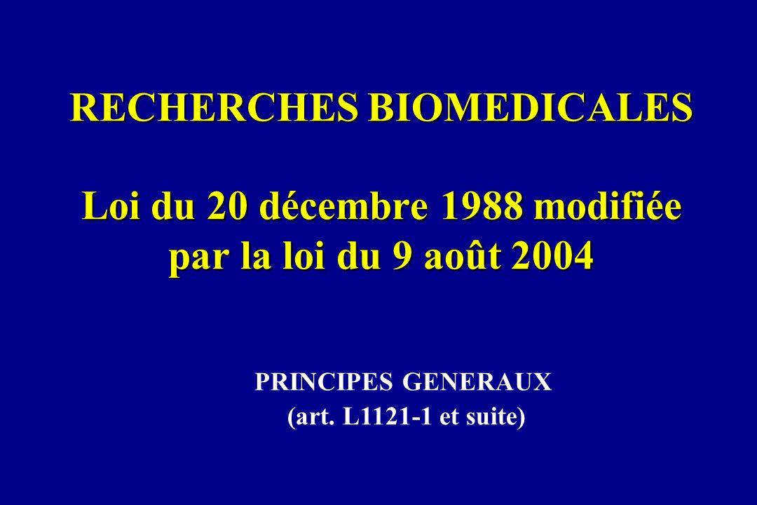 RECHERCHES BIOMEDICALES Loi du 20 décembre 1988 modifiée par la loi du 9 août 2004