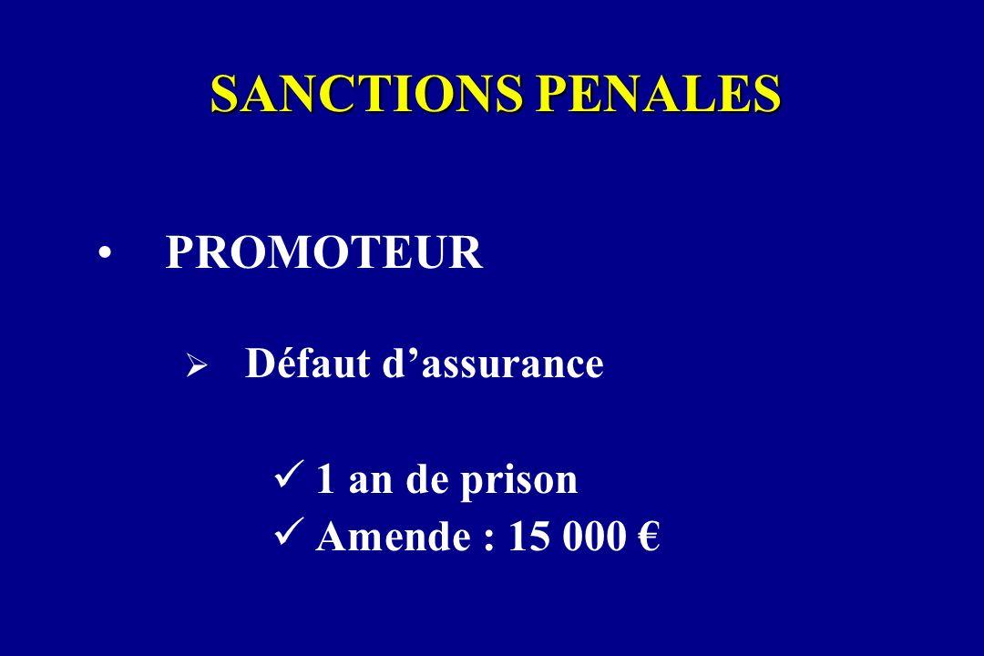 SANCTIONS PENALES PROMOTEUR 1 an de prison Amende : 15 000 €