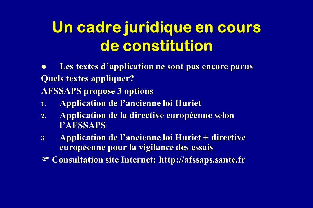 Un cadre juridique en cours de constitution