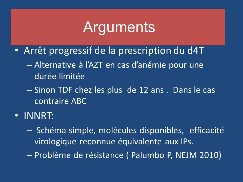 Arguments Arrêt progressif de la prescription du d4T INNRT: