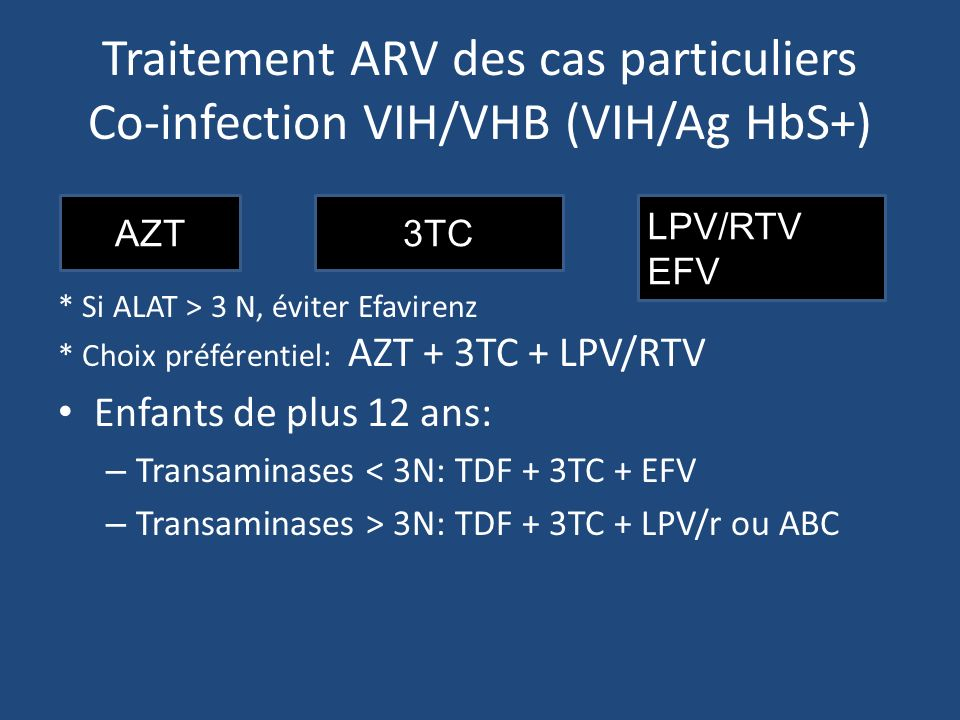 Traitement ARV des cas particuliers Co-infection VIH/VHB (VIH/Ag HbS+)