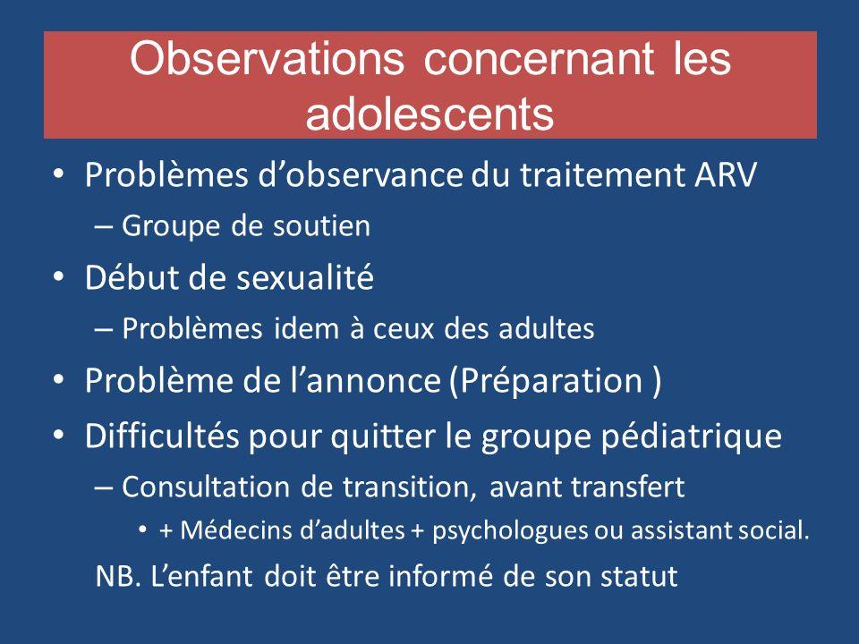 Observations concernant les adolescents